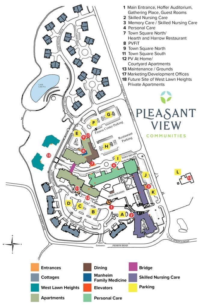 Campus Map - Directions - Pleasant View Retirement Community ... on driving directions, mapquest directions, travel directions, giving directions, traffic directions, get directions, scale directions, compass directions,